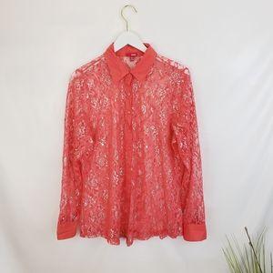 ♦️2/$10 Bongo Salmon Metallic Lace Button-up 2x